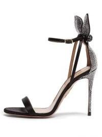 AQUAZZURA Bow Tie 105 crystal-embellished satin sandals   glamorous event heels