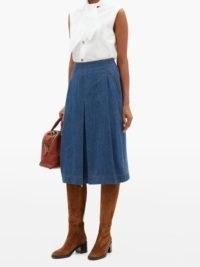 CHLOÉ Box-pleated denim midi skirt ~ blue pleated skirts