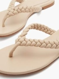 GIANVITO ROSSI Braided leather flip flops ~ beige thonged sandal