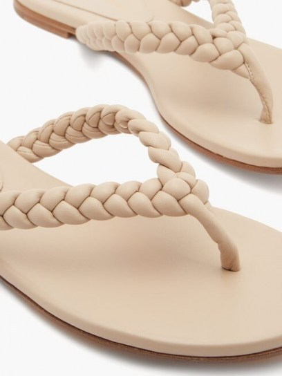 GIANVITO ROSSI Braided leather flip flops ~ beige thonged sandal - flipped