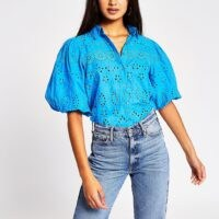 River Island Bright blue long sleeve broderie shirt | puff sleeve blouses