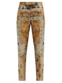 ETRO Bristol high-rise floral-brocade slim-leg trousers ~ printed slim fit pants