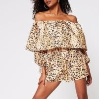 RIVER ISLAND Brown animal print bardot layer playsuit
