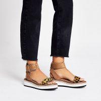 RIVER ISLAND Brown leopard print two part flatform sandals ~ ankle strap flatforms