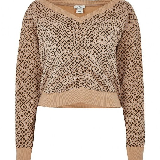 RIVER ISLAND Brown RI logo ruched front v neck top / casual gathered detail tops - flipped