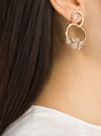 Brumani 18kt rose gold Looping diamond and quartz earrings ~ feminine hoops