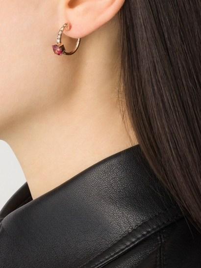 Brumani 18kt rose gold Manaca diamond and topaz hoops / luxe hoop earrings - flipped