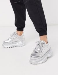 Buffalo London lowtop trainer in silver metallic | sports luxe shoes | chunky trainers