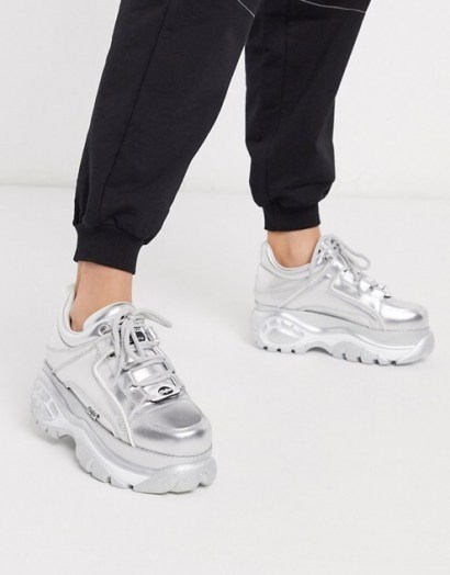 Buffalo London lowtop trainer in silver metallic | sports luxe shoes | chunky trainers - flipped
