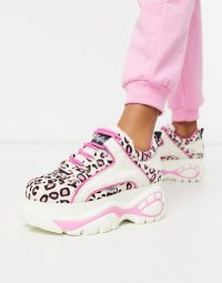 Buffalo London Lowtop Trainer in White and Pink Leopard / girly sneakers