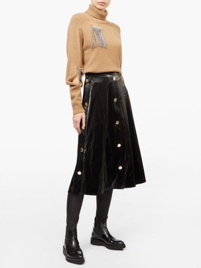 CHRISTOPHER KANE Button-front patent-leather midi skirt ~ black brass buttoned skirts - flipped
