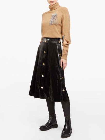 CHRISTOPHER KANE Button-front patent-leather midi skirt ~ black brass buttoned skirts