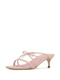 BY FAR January strappy sandals / pink leather bow detail kitten heels