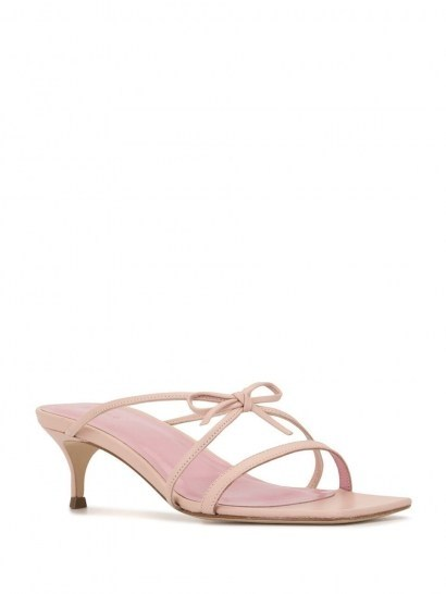 BY FAR January strappy sandals / pink leather bow detail kitten heels - flipped