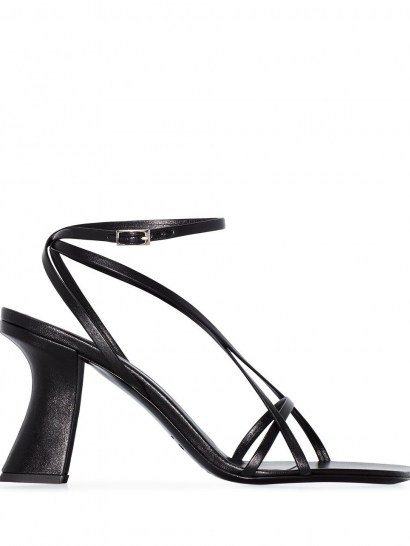 BY FAR Kersti leather sandals / black strappy sculptural heels - flipped