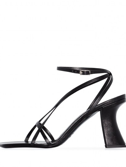BY FAR Kersti leather sandals / black strappy sculptural heels