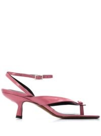 BY FAR pink leather thong-strap sandals