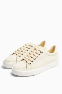 Topshop CAMDEN Taupe Lace Up Trainers