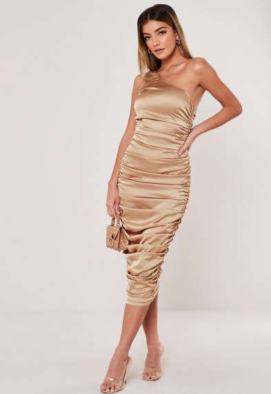Missguided camel stretch satin ruched one shoulder midi dress ~ luxe look bodycon ~ luxurious style evening dresses ~ glamour