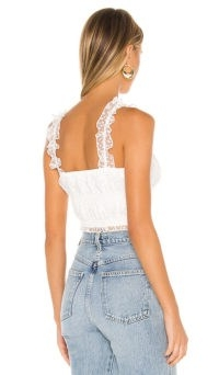 Camila Coelho Eugenie Top Ivory | sheer strap crop tops