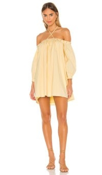 Camila Coelho Pedra Mini Dress Soft Yellow | loose fit off the shoulder dresses | thin strap halterneck