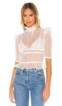 Camila Coelho Tierra Top | sheer high neck ruffled tops