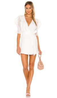 Camila Coelho Zandra Wrap Dress / puff sleeve tie waist dresses