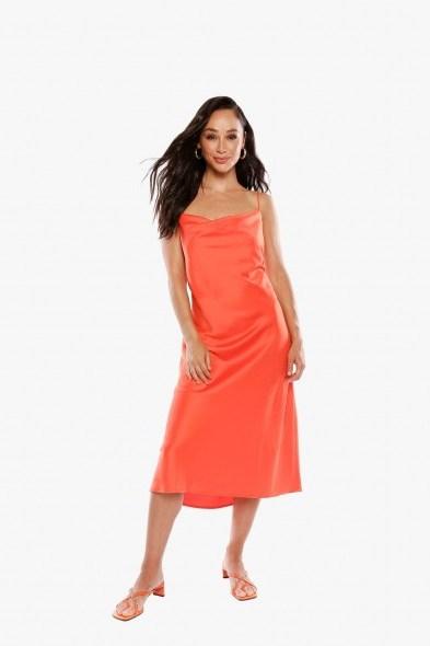 Jamie Chung orange slip dress worn on Instagram, THE CARA SANTANA COLLECTION CAN YOU LIGHTEN UP Satin Dress, 27 June 2020 | celebrity cami dresses - flipped
