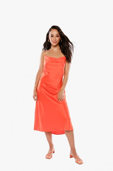 Jamie Chung orange slip dress worn on Instagram, THE CARA SANTANA COLLECTION CAN YOU LIGHTEN UP Satin Dress, 27 June 2020 | celebrity cami dresses