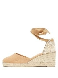 CASTAÑER Carina 60 canvas and jute espadrille wedges | beige ankle wrap wedged heels | classic summer espadrilles