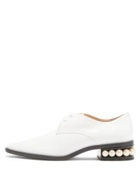NICHOLAS KIRKWOOD Casati pearl-heel leather derby shoes ~ embellished heels