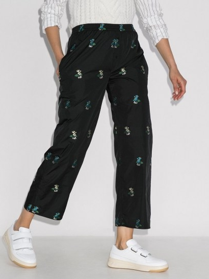 Cecilie Bahnsen Amber cropped floral-embroidered trousers