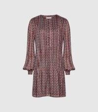 REISS CELIA GEO-PRINT PLEATED MINI DRESS BLACK – pleat detail shift dresses