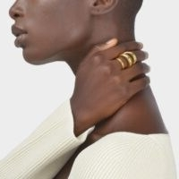 CHARLOTTE CHESNAIS ECHO RING IN YELLOW VERMEIL | contemporary triple band rings