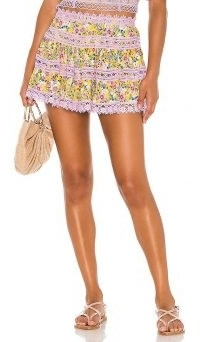 Charo Ruiz Ibiza Greta Skirt / lace trim flower print mini
