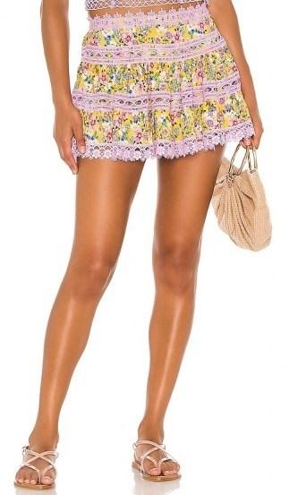 Charo Ruiz Ibiza Greta Skirt / lace trim flower print mini - flipped