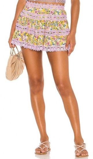 Charo Ruiz Ibiza Greta Skirt / lace trim flower print mini