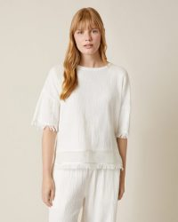Jigsaw CHEESECLOTH TEE White | fringed T-shirts