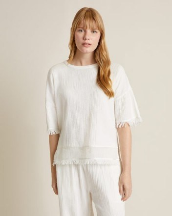 Jigsaw CHEESECLOTH TEE White | fringed T-shirts - flipped