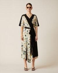 JIGSAW CHINOISERIE FLORAL WRAP DRESS / asymmetric hemline dresses