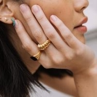 MISSOMA gold claw ridge ring / chunky ridged statement rings