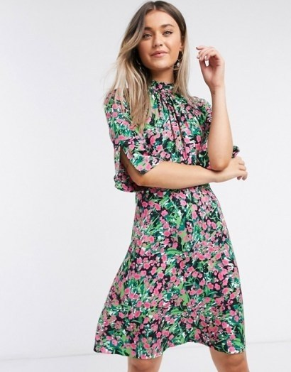 Closet high neck short mini dress in bright ditsy floral / split sleeve dresses - flipped