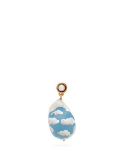 BOTTEGA VENETA Cloud pearl & 18kt gold-plated single earring ~ hand painted drop earrings - flipped