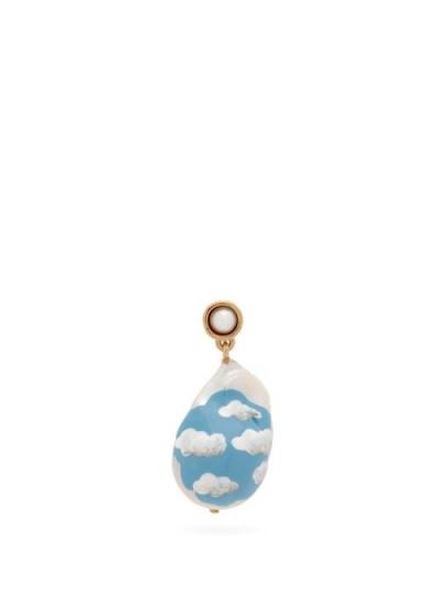 BOTTEGA VENETA Cloud pearl & 18kt gold-plated single earring ~ hand painted drop earrings