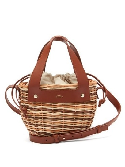 A.P.C. Colette small leather and wicker basket - flipped