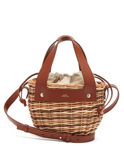 A.P.C. Colette small leather and wicker basket