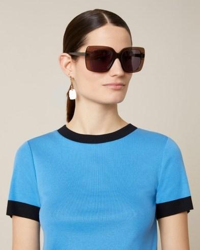 JIGSAW COLOUR BLOCK CREW TEE Azure Blue / piping edged t-shirt - flipped