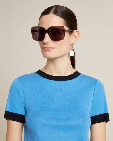 JIGSAW COLOUR BLOCK CREW TEE Azure Blue / piping edged t-shirt