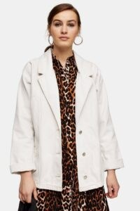 Topshop CONSIDERED White Oversized Denim Blazer Jacket