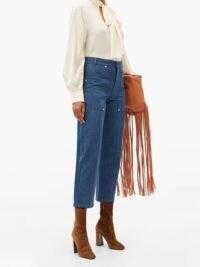 CHLOÉ Contrast-stitch high-rise straight-leg jeans ~ chic boho look